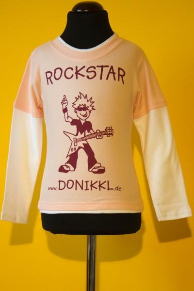 """Langarm-Shirt """" ROCKSTAR!"""" Kleinkind , rosa/weiß"""